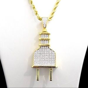 Accessories - 14k Gold Finish Lab Diamond PLUG Charm Chain